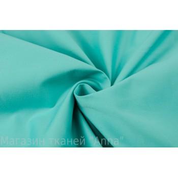 Светло-бирюзовый плотный гладкий хлопок для платья