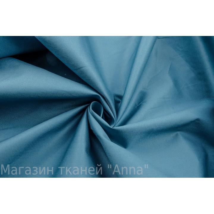 Синий коттон стрейч с бирюзовым оттенком