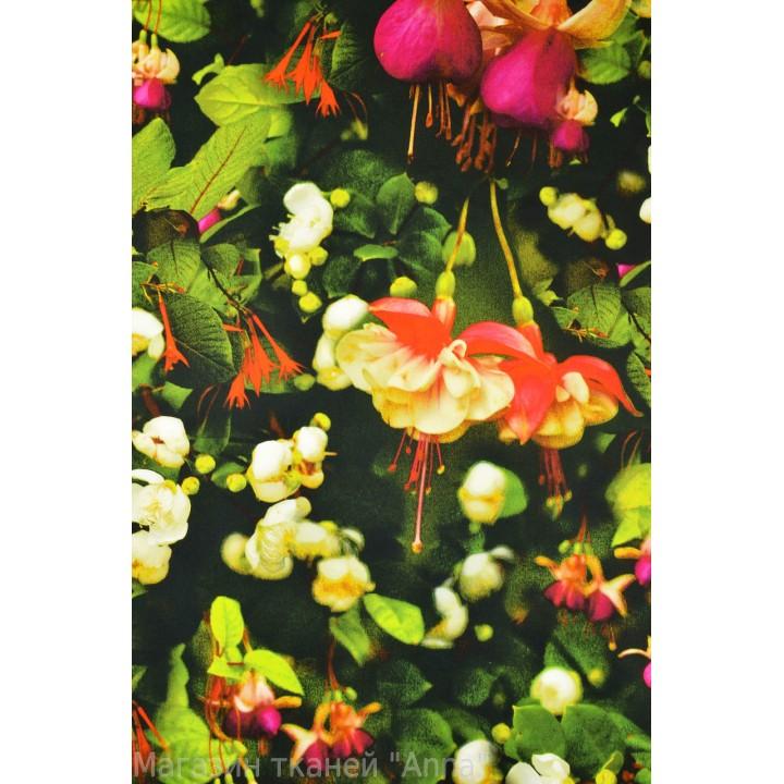 """Коттон с принтом """"Орхидеи"""" в зелени."""