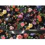 Плотный плательный хлопок с маленькими цветочками на черном фоне