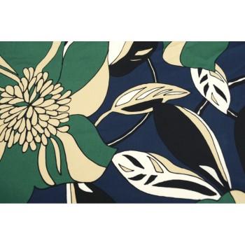 Коттон-стрейч с крупным цветочным рисунком
