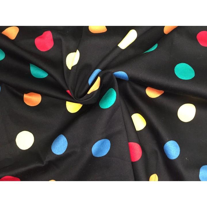 Хлопок в разноцветный крупный горох для платья