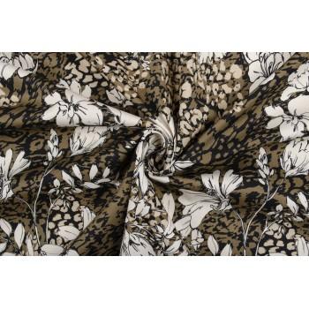 Костюмный хлопок - цветы на коричневом фоне