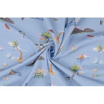 Матовый гладкий хлопок - пляжная тема на голубом фоне