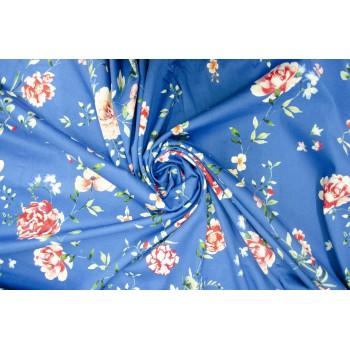 Тонкий, матовый хлопок - цветы на ярко-синем фоне