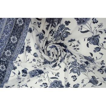Гладкий креп для блузки и платья с красивым принтом в русском стиле