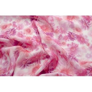 Красивый крепдешин с ромашками в розовых тонах