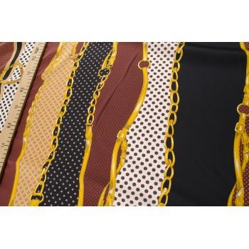 Гладкая плательная ткань с цепочками и горохом