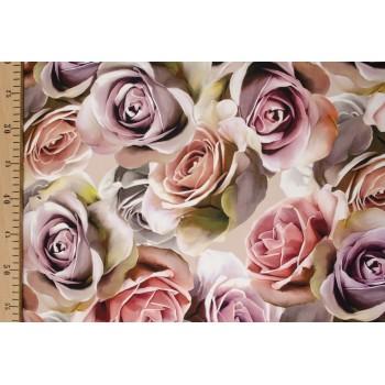Эксклюзивный шелк с бутонами роз в пастельных тонах