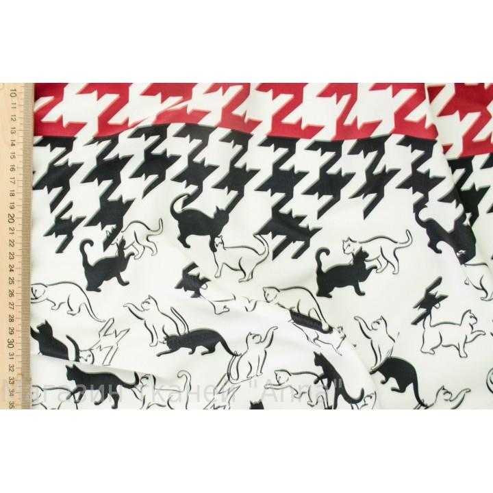 Крепдешин для платья - кошки на белом фоне