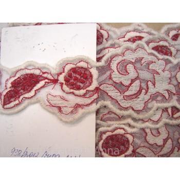 Кружево бело-розовое с текстурой под шерсть