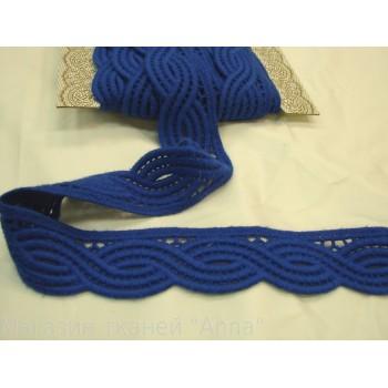 Мягкое синее шерстяное кружево с ажурным краем