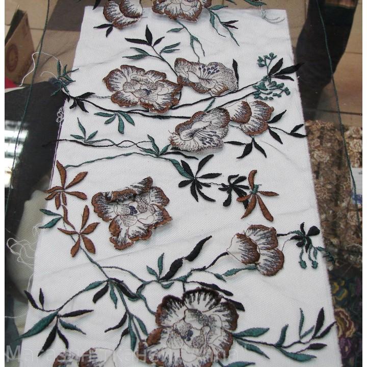 Кружево КН, объемные цветы на черной сетке