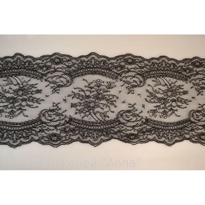 Кружево Шантильи, цвет полотна черный