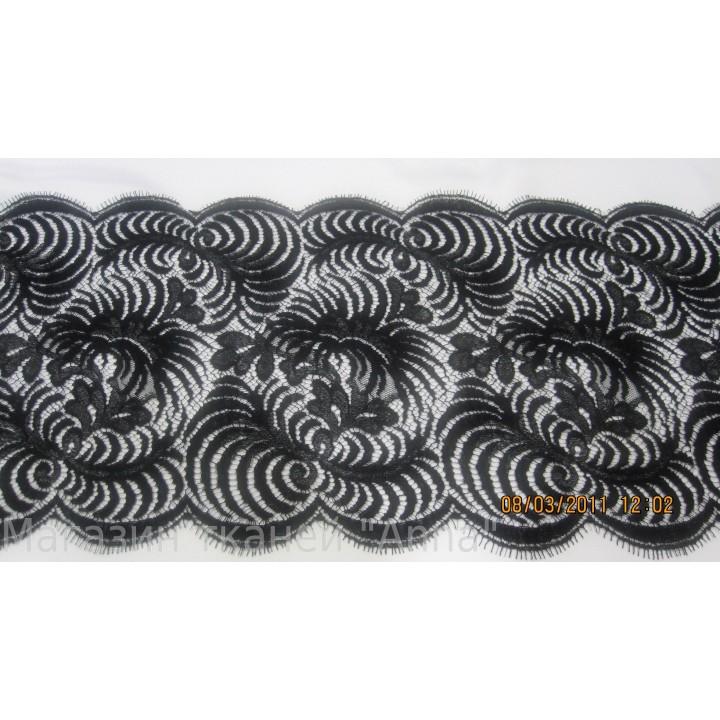 Кружево Шантильи Solstiss noir черного цвета