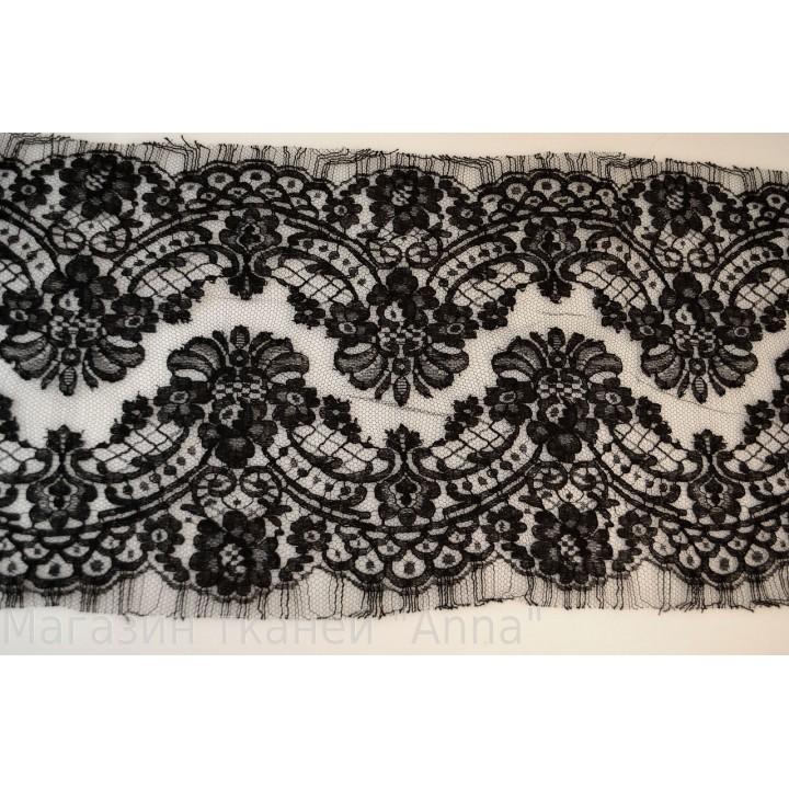 Кружево Шантильи, цвет полотна черное шантильи, фестоны с обоих сторон