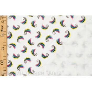Белая курточная ткань с мелким принтом