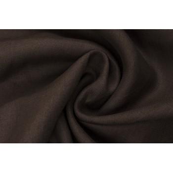 Льняная ткань темно коричневого цвета