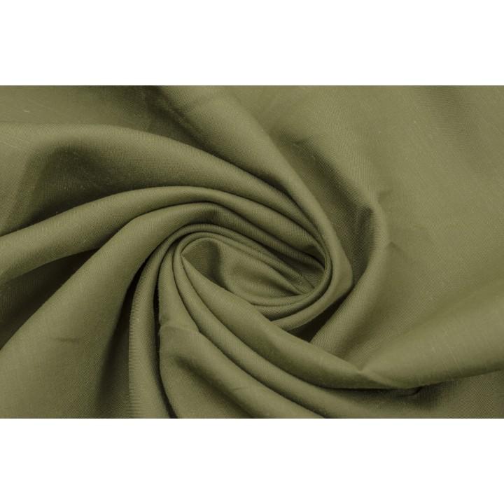 Костюмно плательный лен насыщенного оливкового цвета