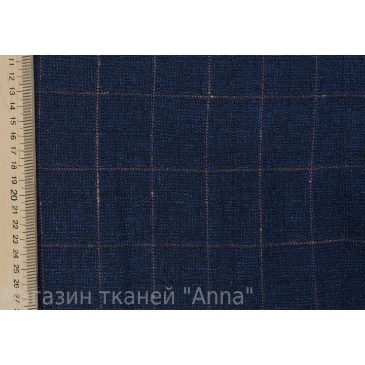 Темно-синий лен с клеткой 5*5 см
