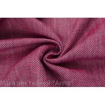 Льняная ткань с переплетением красных и синих нитей