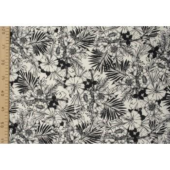 Плотный матовый лен с монохромным цветочным узором