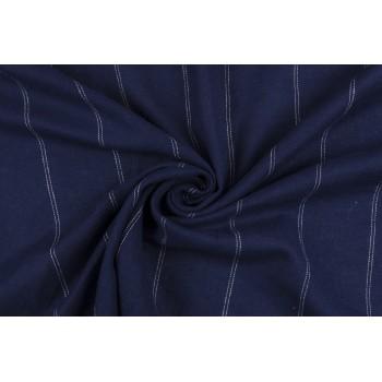 Мягкий темно синий лен в широкую полоску