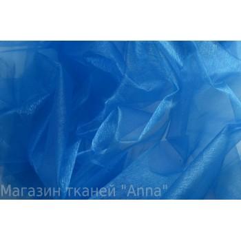 Ярко-синяя тонкая органза с блеском