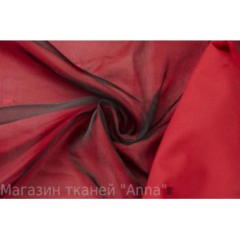 Двухслойная органза в черно-красном цвете