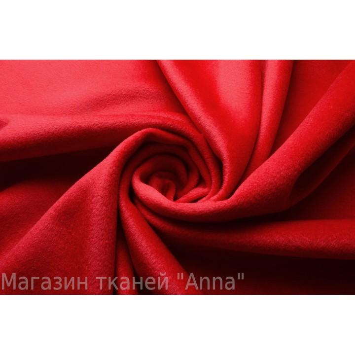 Мягкий пальтовый кашемир ярко-красного цвета