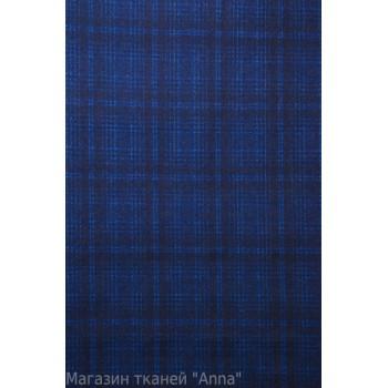 Мягкая пальтовая шерсть - крупная клетка в ярко синем цвете