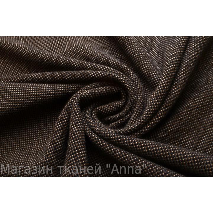Мягкая шерсть Ricerri с рельефным мелким принтом в черно-бежевом цвете.