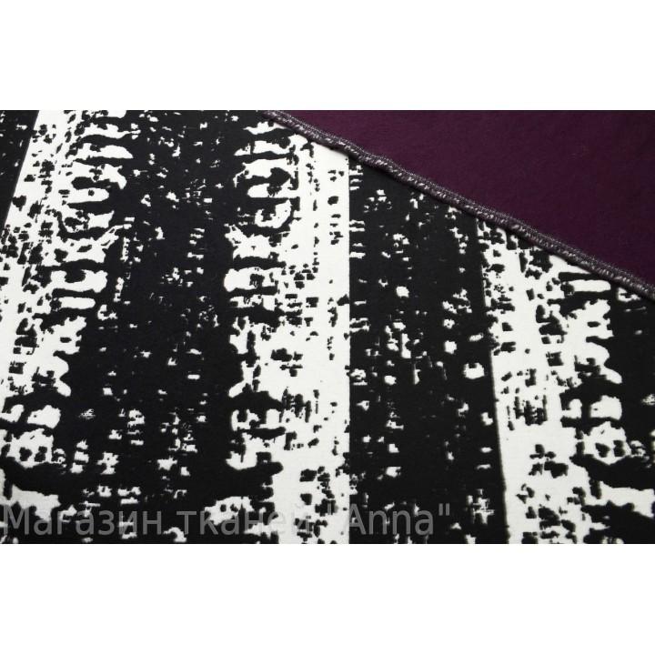 Двустороннее пальтовое полотно с оригинальным принтом и изнанкой темно сливового цвета