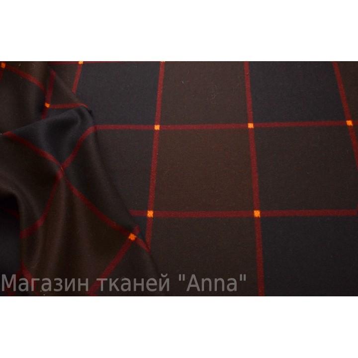 Темно коричневая тонкая пальтовая шерсть (для легкого пальто) в крупную клетку