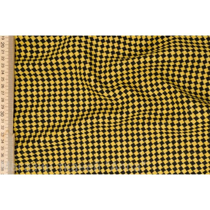 Мягкая черно желтая пальтовая ткань