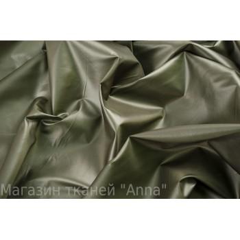 Плащевая ткань с легким блеском - цвет темно-оливковый