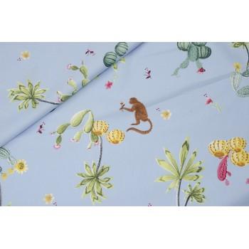 Плотная хлопковая ткань - мартышки, кактусы и пальмы на нежно-голубом фоне