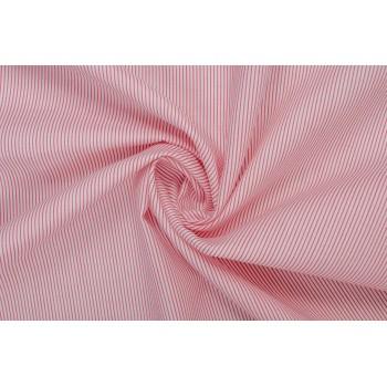 Рубашечная ткань в узкую полоску кораллового цвета