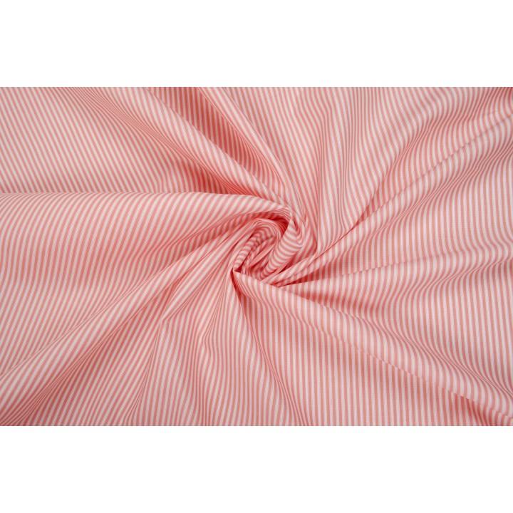 Рубашечный хлопок в полоску персикового цвета