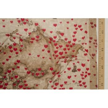 """Плательный хлопок """"карта мира"""" с красными сердечками"""