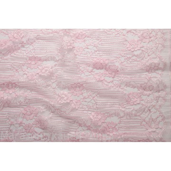 Кружево шантильи нежно-розового цвета