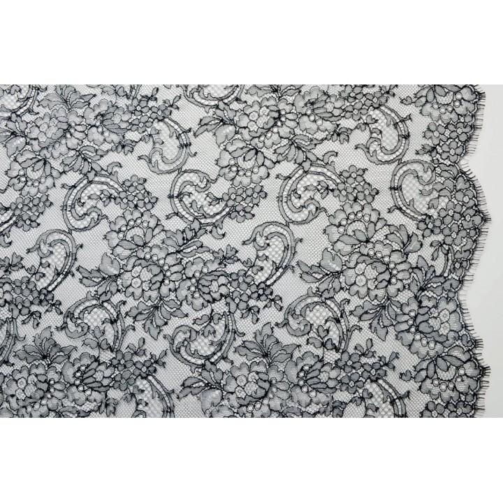 Тонкое ажурное кружево Шантильи 570/2012 черного цвета