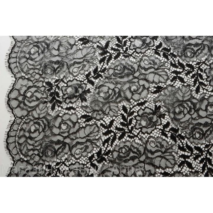 Кружево шантильи черного цвета