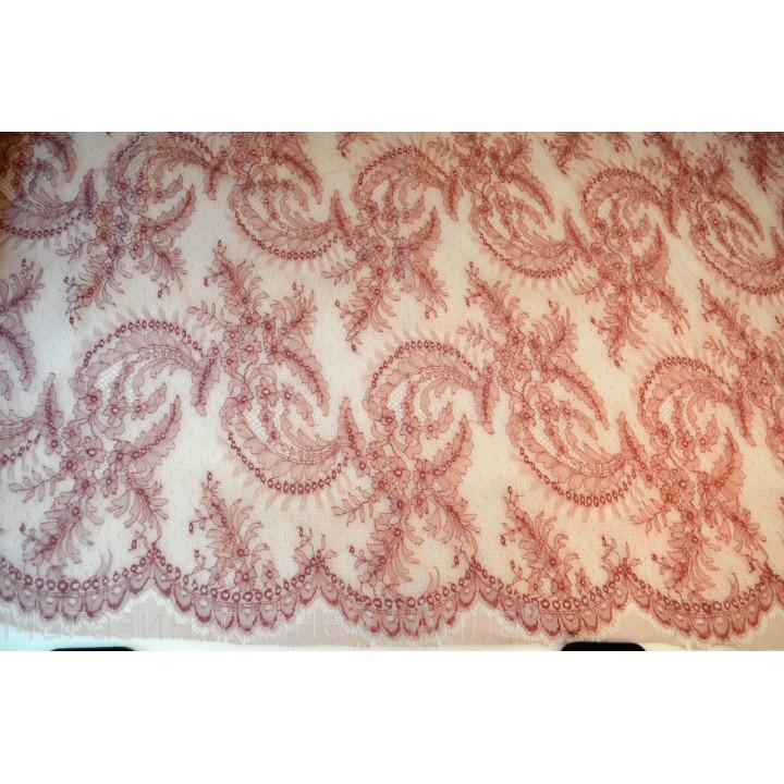 Шантильи Solstiss розового цвета, фестоны с обоих сторон