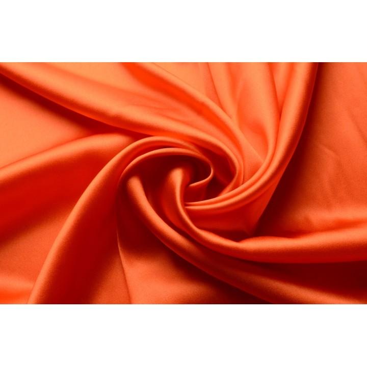 Атласный шелк-стрейч яркого оранжевого цвета