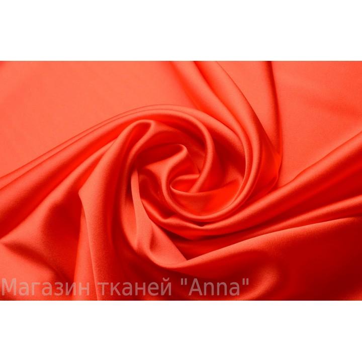 Яркий оранжевый атласный шелк стрейч для одежды