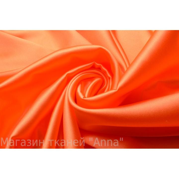 Яркий оранжевый неоновый атласный шелк