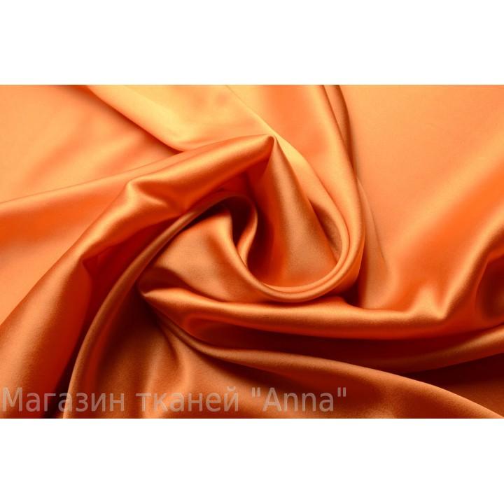 Атласный шелк с эластаном оранжевого оттенка