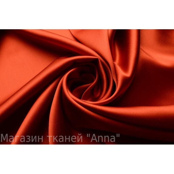 Насыщенный темно оранжевый атласны шелк