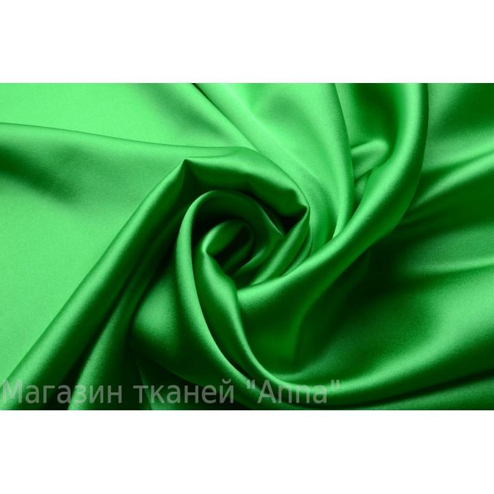 Яркий зеленый атласный шелк стрейч
